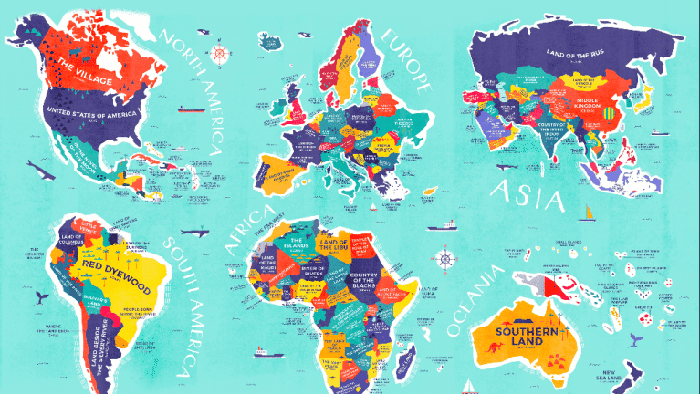 Map shows the literal meaning of every country's name.