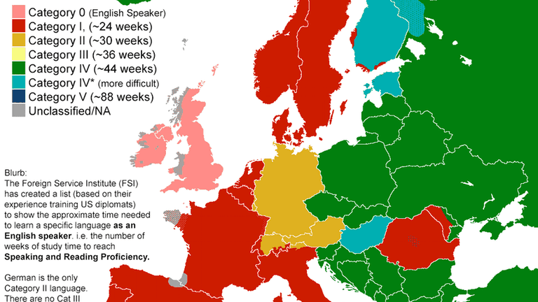 Map Ranks Languages From Least To Most Difficult To Learn.